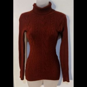 Cable knit turtleneck slim fit sweater